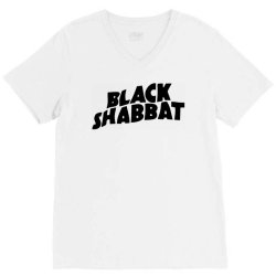 black shabbat in black text V-Neck Tee   Artistshot