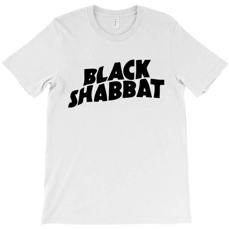 Black Shabbat In Black Text T-shirt   Artistshot