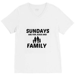 family and jesus sunday V-Neck Tee | Artistshot