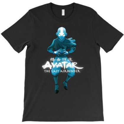 Blue Monochromatic Aang The Last Airbender T-shirt Designed By Amber Petty