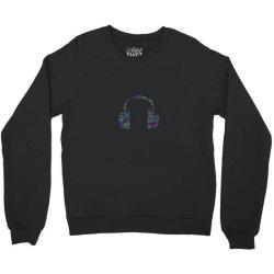 Typography Headphone Crewneck Sweatshirt | Artistshot