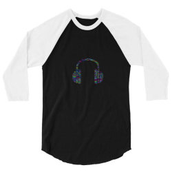 Typography Headphone 3/4 Sleeve Shirt | Artistshot