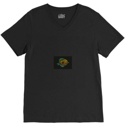 Exclusive Fish Vector Art V-neck Tee Designed By Chiks