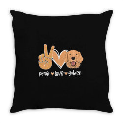 Peace Love Golden Throw Pillow | Artistshot