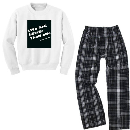 Two Are Better Than One Youth Sweatshirt Pajama Set Designed By Onepiyuashu