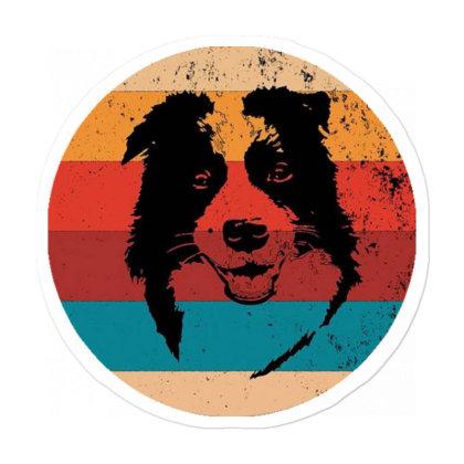 Vintage Border Dog Sticker Designed By Pinkanzee
