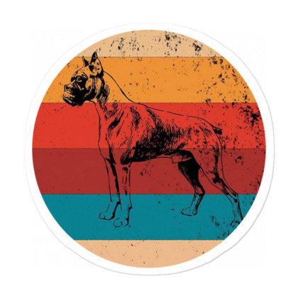 Vintage Boxer Lover Retro Dog Sticker Designed By Pinkanzee