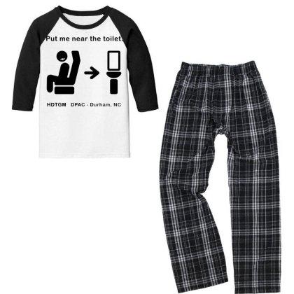 Put Me Near The Toilet Youth 3/4 Sleeve Pajama Set Designed By Pinkanzee