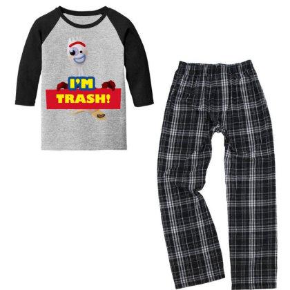 I'm Trash   Forkie Youth 3/4 Sleeve Pajama Set Designed By Pinkanzee