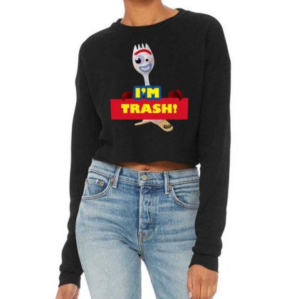 I'm Trash   Forkie Cropped Sweater Designed By Pinkanzee