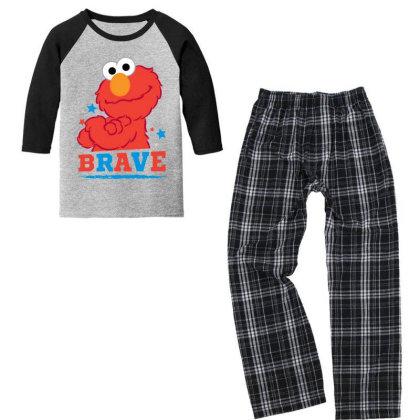 Brave Elmo Youth 3/4 Sleeve Pajama Set Designed By Pinkanzee
