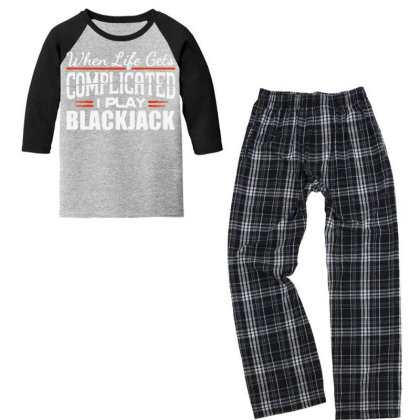When Life Gets Complicated Play Blackjack Gambling Youth 3/4 Sleeve Pajama Set Designed By Pinkanzee
