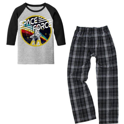 United States Space Force Vintage Youth 3/4 Sleeve Pajama Set Designed By Pinkanzee