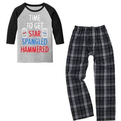 Time To Get Star Spangled Hammered Youth 3/4 Sleeve Pajama Set Designed By Pinkanzee