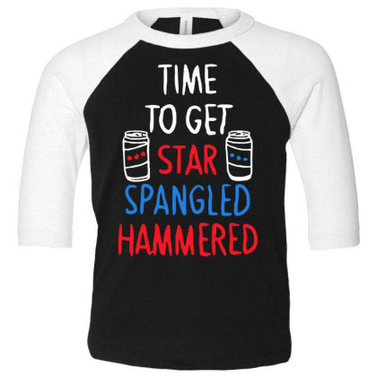 Time To Get Star Spangled Hammered Toddler 3/4 Sleeve Tee Designed By Pinkanzee