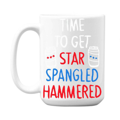Time To Get Star Spangled Hammered 15 Oz Coffe Mug Designed By Pinkanzee