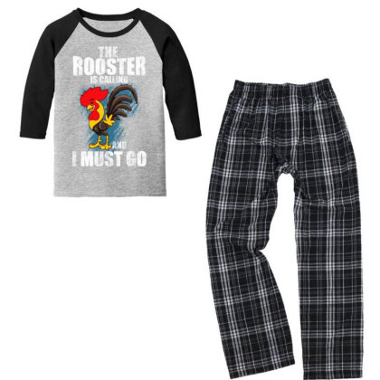 The Rooster Is Calling And I Must Go Youth 3/4 Sleeve Pajama Set Designed By Pinkanzee