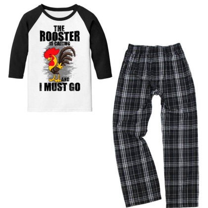 The Rooster Is Calling And I Must Go Funny Youth 3/4 Sleeve Pajama Set Designed By Pinkanzee