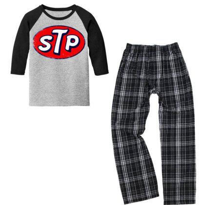 Stp Motor Oil Distressed Vintage Youth 3/4 Sleeve Pajama Set Designed By Pinkanzee
