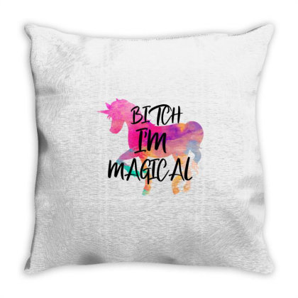 Bitch I M Magical Unicorn Watercolor Throw Pillow Designed By Bettercallsaul