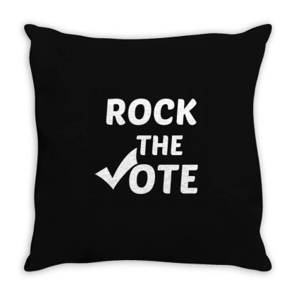Rock The Vote White Throw Pillow Designed By Perfect Designers