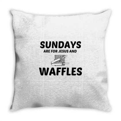 Waffles And Jesus Sunday Throw Pillow Designed By Perfect Designers