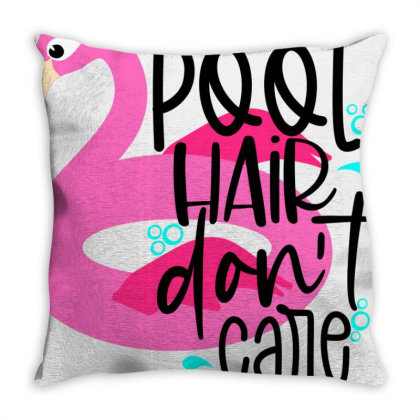 Pool Hair Don't Care Throw Pillow Designed By Purpleblobart