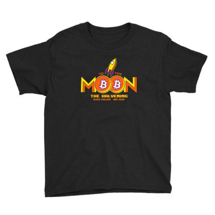 To The Moon, Bitcoing Halvening 2020   Dark Version V Neck T Shirt Youth Tee Designed By Blackstars
