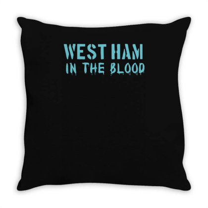 West Ham In The Blood Retro Style New Throw Pillow Designed By L4l4pow