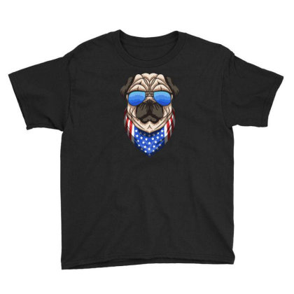 Patriotic Funny Dog American Flag Youth Tee Designed By Jack14