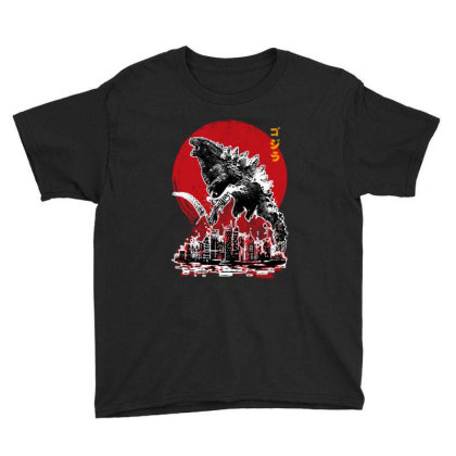 Gojira Town Attack Youth Tee Designed By Domino Tees