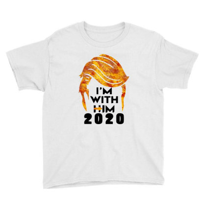 Funny Trump 2020  I'am With Him Youth Tee Designed By Raymod Art