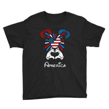 I Love America 4th Of July Youth Tee Designed By Raymod Art