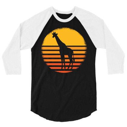 Giraffe Animal African Safari Giraffes 3/4 Sleeve Shirt Designed By G3ry