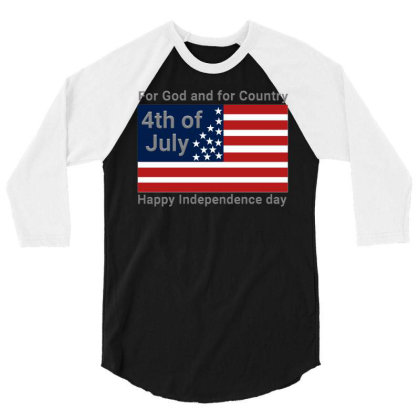 For God And For Country Fourth Of July Usa Shirts 3/4 Sleeve Shirt Designed By Jack14