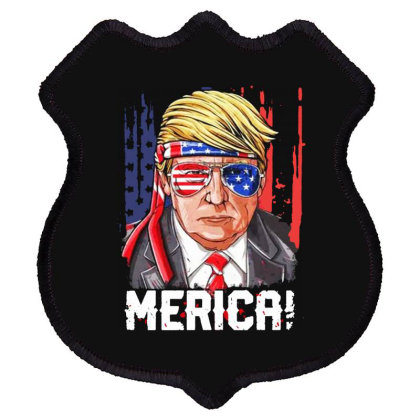Merica Donald Trump 4th Of July Shield Patch Designed By Raymod Art