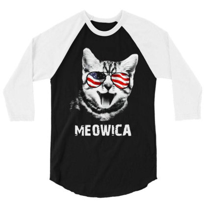 Meowica 4th Of July Independence Day American 3/4 Sleeve Shirt Designed By Raymod Art