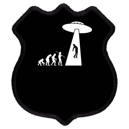 Evolution Ufo Funny Shield Patch Designed By Erishirt