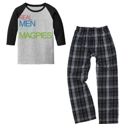 Real Men Love Magpies Youth 3/4 Sleeve Pajama Set Designed By Pinkanzee