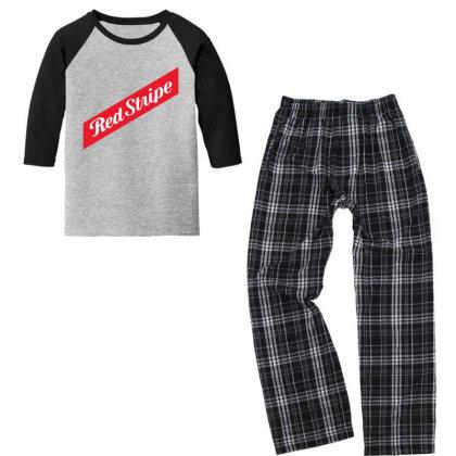 Red Stripe Youth 3/4 Sleeve Pajama Set Designed By Pinkanzee