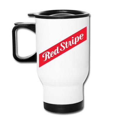 Red Stripe Travel Mug Designed By Pinkanzee