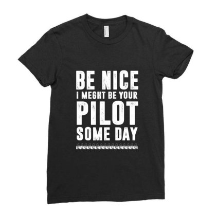 Funny Airline Pilot Flight School Ladies Fitted T-shirt Designed By Dropshop