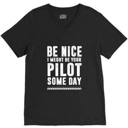 Funny Airline Pilot Flight School V-neck Tee Designed By Dropshop