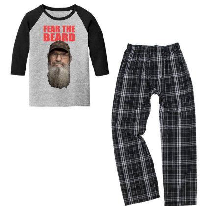 Fear The Beard Youth 3/4 Sleeve Pajama Set Designed By Pinkanzee