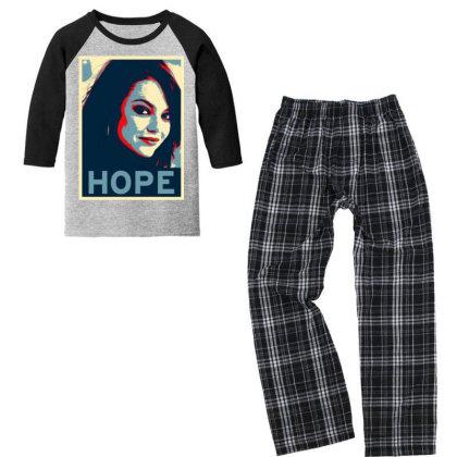 Hope Poster Youth 3/4 Sleeve Pajama Set Designed By Pinkanzee
