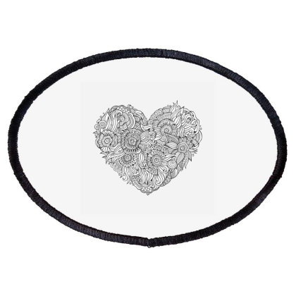 Doodles Heart Oval Patch Designed By V8 Visuals