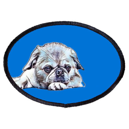 Cute Little Pug And Pekingese Oval Patch Designed By Kemnabi