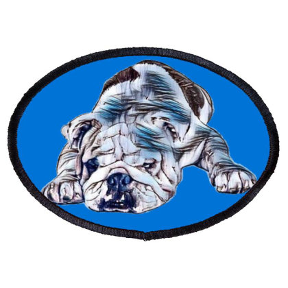 A Cute And Tired Bulldog Layi Oval Patch Designed By Kemnabi