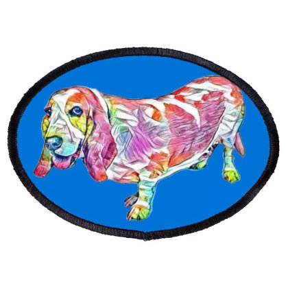 Side View Of A Basset Hound D Oval Patch Designed By Kemnabi