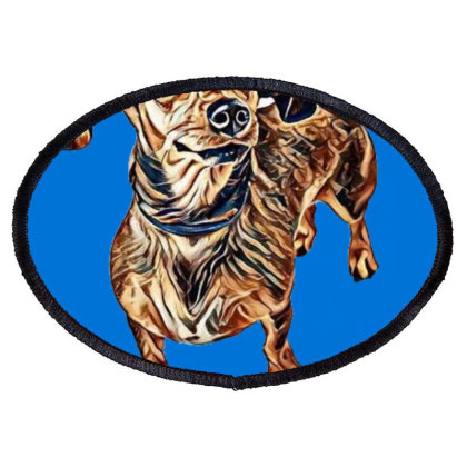 Scared Looking Dachshund Mixe Oval Patch Designed By Kemnabi